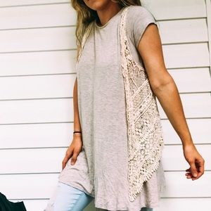 Lace / Embroidered Cream Bohemian Cardigan